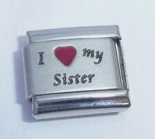 I LOVE MY SISTER Italian Charm Red Heart 9mm fits Classic Bracelets E377 Big Sis