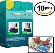 Space Saver No-Vacuum Compression Bags w/ rolling Ziplock for Travel by Acrodo