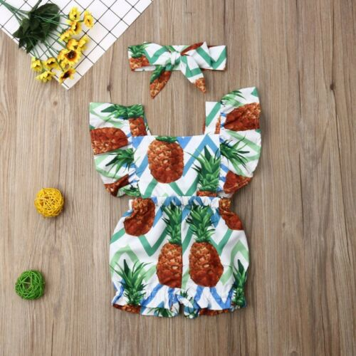 Toddler Baby Girl Fly Sleeve Ruffle Flower Romper Jumpsuit+Headband Outfits Set