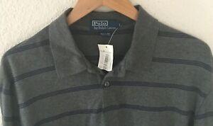 NWT-Polo-Ralph-Lauren-Mens-Gray-Striped-Long-Sleeve-Polo-Shirt-Sz-L
