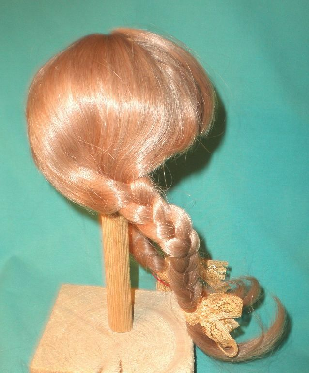 Doll wig human human human hair 10  to 10.5  strawberry blonde braids hand knitted f1c57f
