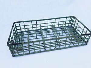 Vintage Green Rubber Coated Milk Bottle Carrier Rack Farmhouse Display Basket Ebay