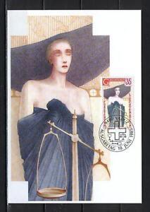 Maxi Card A88 Liechtenstein 1985 Cardinal virtues justice