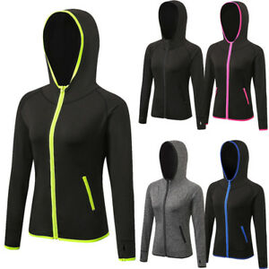 Women Ladies Gym Fitness Running Jogging Yoga Hoodie Zip-up Jackets ... 44f95385bf9a