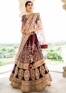 Indian Wedding Dress.Details About Maroon Bridal Lengha Choli Dupatta Set Indian Wedding Wear Women S Lehenga S817