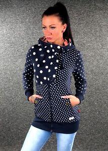 scuro con Blu con D328 donna Sweat Xxl Dot cappuccio L M Polka Zazou cappuccio Giacca Xl S Jacket IX7pnZnqT