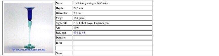 Glas, Holmegaard Royal Copenhagen Harlekin Stager,