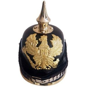 SC-EXPORTS-Leather-Helmet-German-Pickelhaube-Prussian-Imperial-Officer-s-Garde