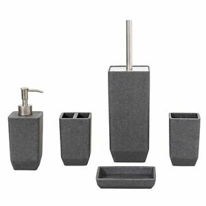 Metro-Grey-Resin-Square-Modern-5-Piece-Bathroom-Accessory-Collection