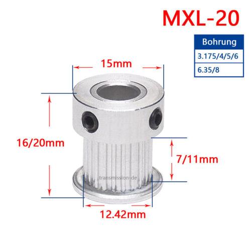 15T-40T Zähne Zahnrad Riemenscheibe MXL Pulley für Zahnriemen 6mm 10mm Breite