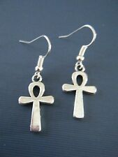 """FREE GIFT ** ANTIQUED SILVER DANGLE EARRING """"Egyptian Ankh- 1 1/2"""" Long"""