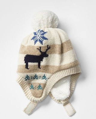 NWT Boy/'s Trapper Hat Size 0-6 months Fair Isle Cotton Knit Red Old Navy