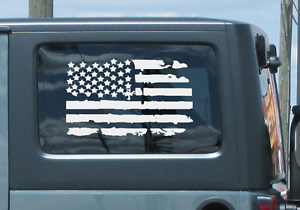 USA Flag vinyl sticker decal Die-cut Jeep LR6 Support our Troops 2 Pack