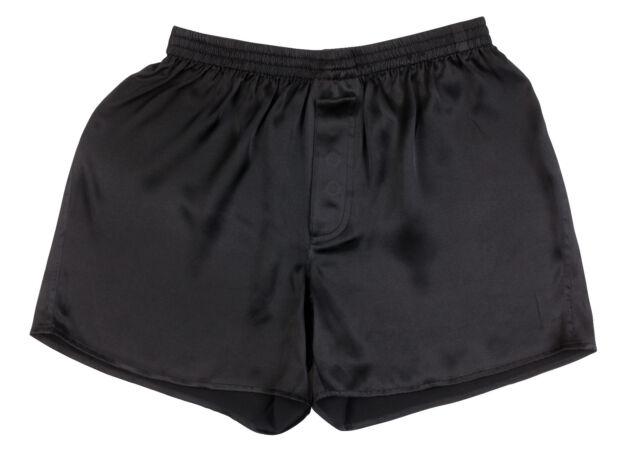 Mens Boxer Shorts//Underwear//Lounge Shorts Large Black Pack of 2 SILK MODA