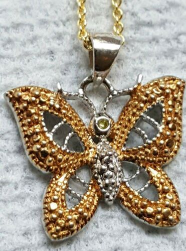 18K GOLD OVER STERLING BUTTERFLY TWO TONE PENDENT//CHAIN WITH DIAMOND ACCENT