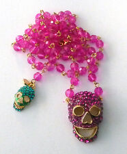 Butler and Wilson 2 Fuschia Turq Crystal Skull Long  Beaded Rosary Necklace NEW