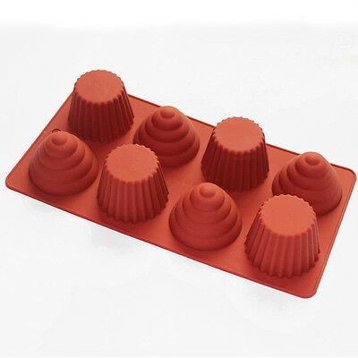 """Silicone Spir TART CHOCOLATE CAKE SOAP BAKEWARE MOLD MOULDS 8 holes 11""""X6"""""""