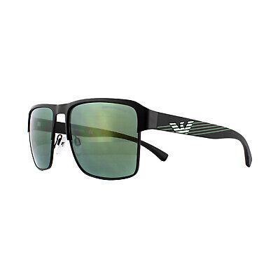 100% Vero Emporio Armani Occhiali Da Sole Ea2066 30016r Opaco Nero Verde Chiaro Specchio Merci Di Convenienza