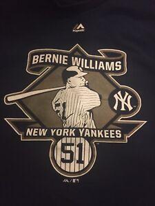 New York Yankees Shirt Bernie Williams Medium Size Retirement Patch Majestic