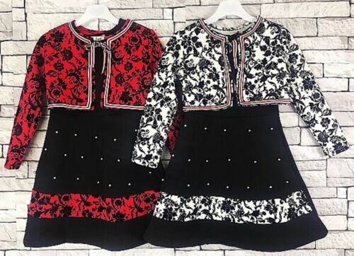 Girls Long Sleeved Party Dress New Kids Sparkle Bolero Winter Dresses 3-12 Years