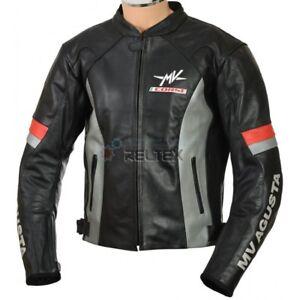 MV-AGUSTA-CORSE-Black-GREY-Motorbike-Motorcycle-Armored-CE-Leather-Biker-Jacket