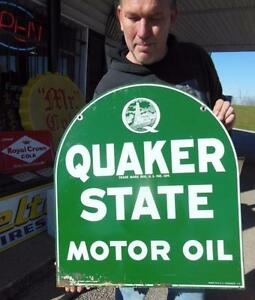 1970 39 s quaker state motor oil double sided garage gas for Quaker state motor oil history
