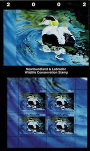 NEWFOUNDLAND-9M-2002-COMMON-EIDER-CONSERVATION-STAMP-MINI-SHEET-OF-4-IN-FOLDER