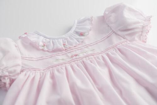 NWT Freidknit Creations Feltman Girls Pink Vintage Rose Dress 12 18 24 M