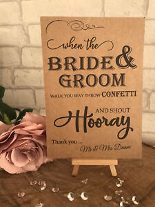 Personalised Confetti Cone Table Sign Wedding Recycled Kraft Card Rustic A5
