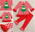 Baby Girls Kids Christmas Long Sleeve Pajamas Shirts Set Pants Sleepsuit Outfit
