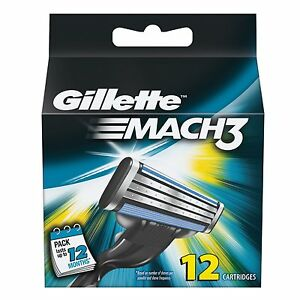 Mens-Gillette-MACH3-Refills-Razor-Blades-12-Cartridges