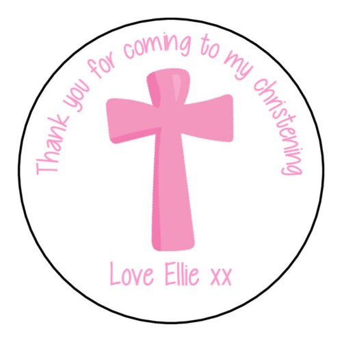 Personalised Christening Stickers For Girls GLOSS Party Sweet Cone Bag Label