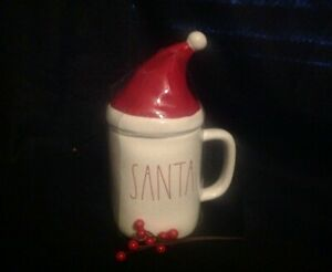 Rae-Dunn-SANTA-red-LL-mug-with-Lid-Hat-Topper-2019-Christmas-VHTF-Unique-Gift