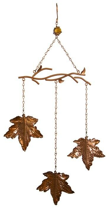 Copper Maple Leaves Wind Chime
