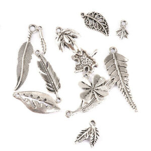 50 Assorted Tibetan Antique Silver Leaf Charms Pendants DIY Jewellery Making