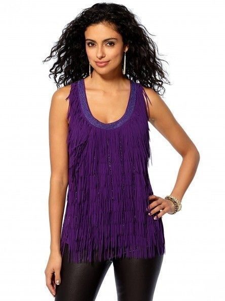 NWT Cache lila Beaded Fringe Tank SEXY Cocktail Party Dress Top  XL 14
