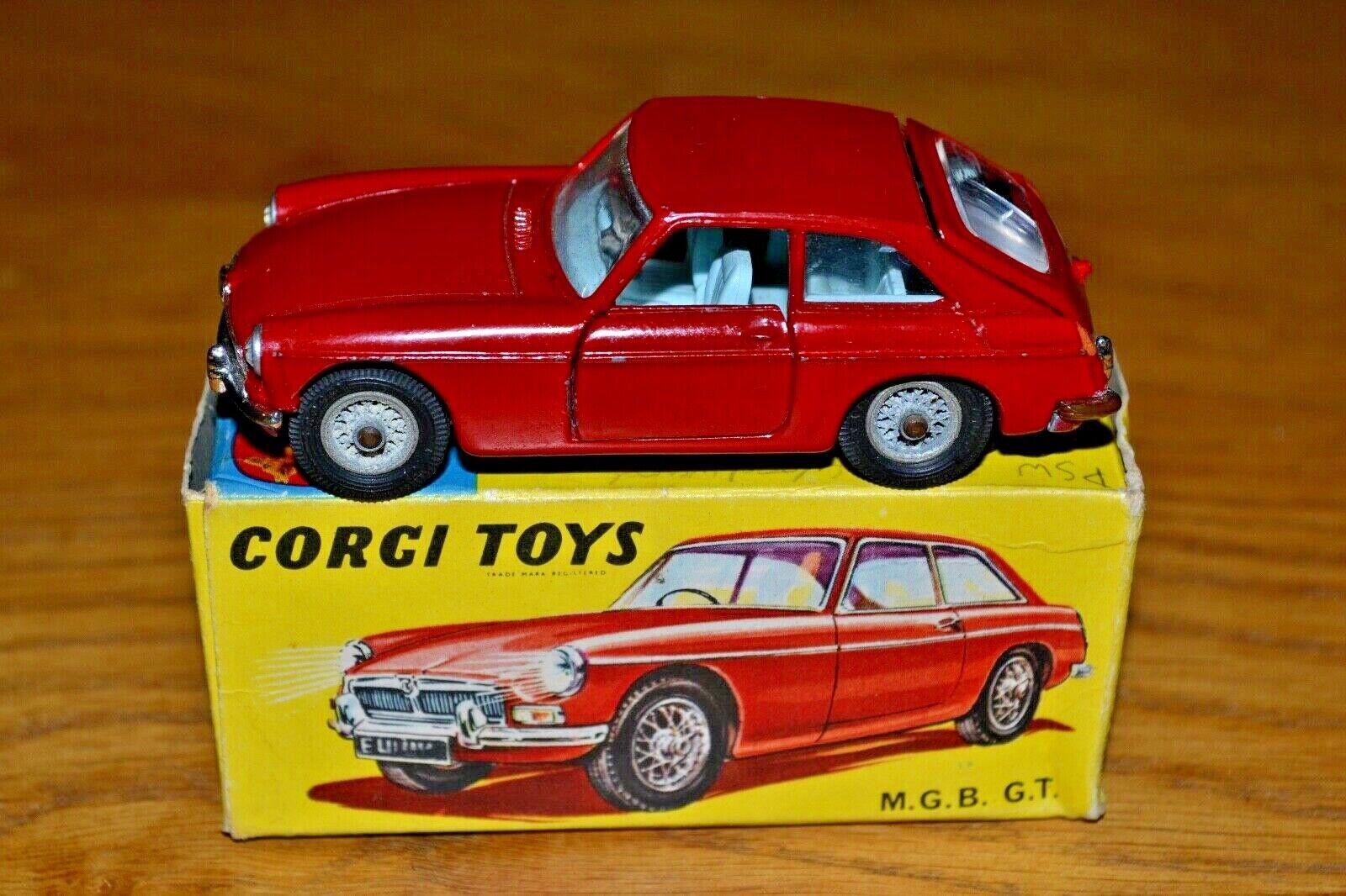 Vintage Corgi Toys No 327 Red MGB GT; Original Box; Suitcase