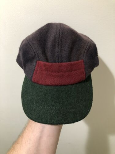 Vintage 40s 50s 5 Panel Color Block Wool Leather S