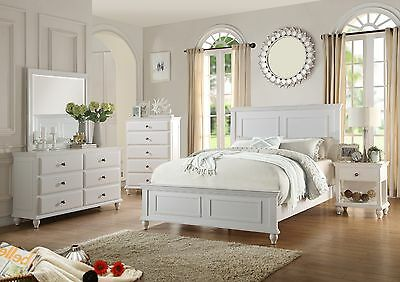 New 4pc Santa Barbara Coastal Style White Finish Wood Queen Size Bedroom Set Ebay