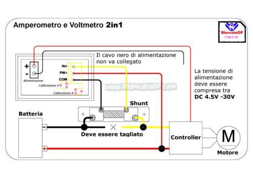 2in1 VOLTMETRO 0-100V e AMPEROMETRO 0-200A con SHUNT auto camper solare eolico