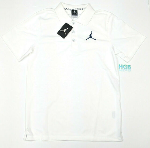 fb26242806e2 Nike Air Jordan Jumpman Golf Polo Mens White Black Team Dri-Fit 865856-100
