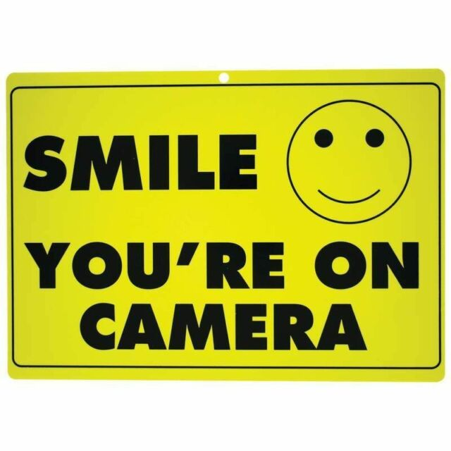 Lot of 5 Yellow SMILE YOU'RE ON CAMERA Warning Sign Video Security Surveillance