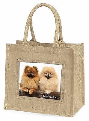 Westpommern Hunde Soulmates Stimmung groß Natürliche Jute Einkauf Tasche,
