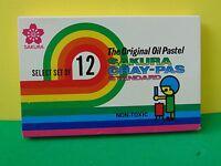 Sakura Cray-pas Set Of 12 Original Oil Pastel Xep 12 Made In Japan