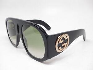 7c48ac583f4e New Authentic Gucci GG0152S 002 Black/Gold w/Green Gradient GG 0152S ...