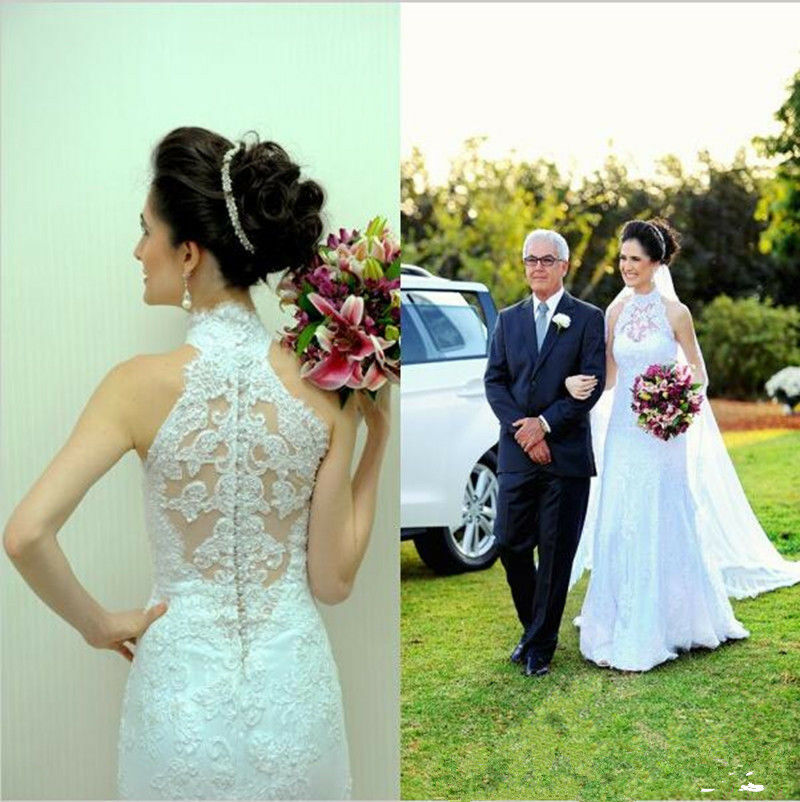 Sexy New Mermaid Halter Wedding Dress Lace Bridal Gowns Hollow Buttons Back 2019