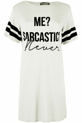 Womens Ladies PJ Shirt Oversized Me Sarcastic Never Baggy Tunic Night Dress Top