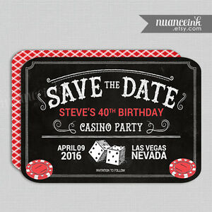 Casino Save The Date Birthday Party Invitations Craps Poker