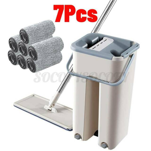Floor Cleaning Microfiber Mop Bucket Flat Squeeze & Hand Free Wringing w/ 7 PADS
