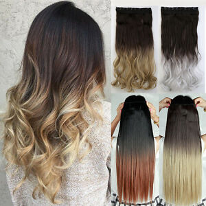 wie echthaar haarverl ngerung ombre clip in hair extension. Black Bedroom Furniture Sets. Home Design Ideas